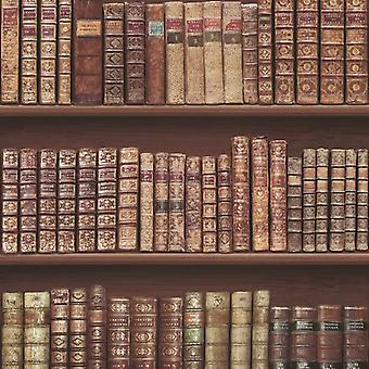 Bookcase Classic Leather Books Library Wallpaper