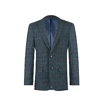 Scottish Harris Tweed Mens Dark Blue Windowpane Check Tweed Jacket Regular Fit 100% Wool Notch Lapel