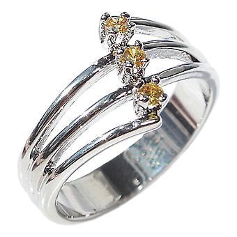Ah! Joias anel de zircônio cúbico Topaz, ródio galvanizado