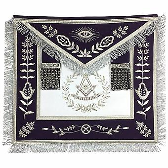 Masonic Blue Lodge Past Master Silver Handmade Embroidery Apron Purple Velvet
