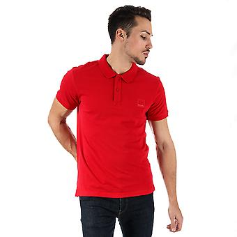Mens Bench Classic Cotton Polo Shirt In Red- Short Sleeve- Ribbed Cuffs And
