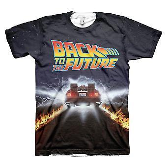 Miesten takaisin tulevaisuuteen DeLorean kaikki yli Print T-paita