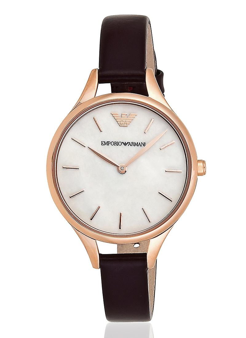 Emporio Armani Ar11057 Burgundy Leather Steel Case Ladies Watch
