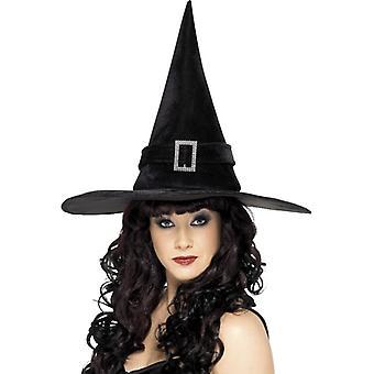 Kapelusz czarownicy z klamry rhinestone, czarny