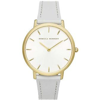 Rebecca Minkoff Womens Major | Grey Leather Strap | Silver/White Dial | 2200289 Watch