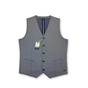 Olyp Casual waistcoat in blue icro nailshead pattern