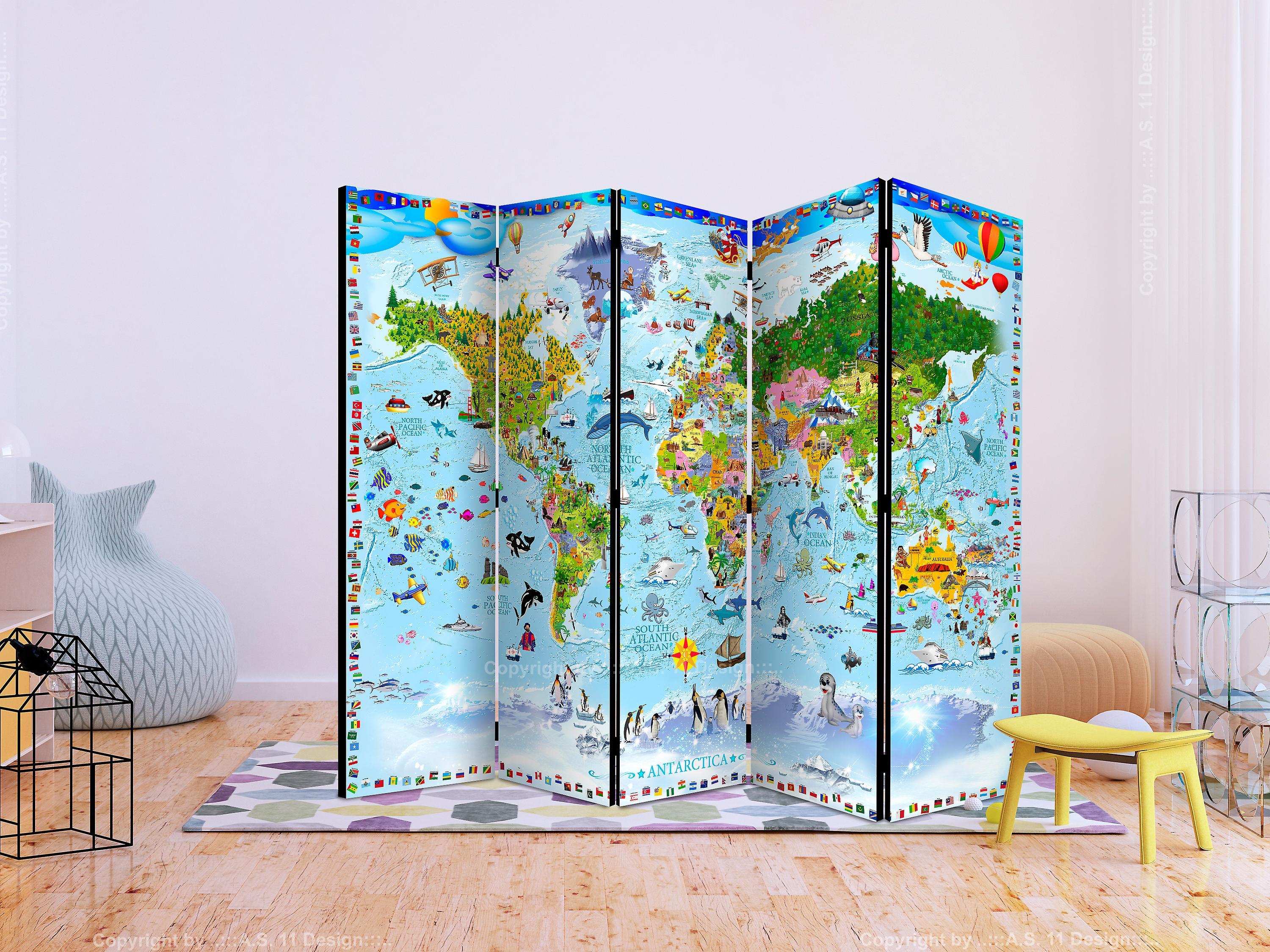 Paravent 5 volets - World Map for Kids II [Room Dividers]