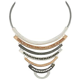 Eternal Collection Impressions Multi Crystal Matte Three Tone Statement Necklace