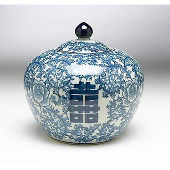 AA Importing 59752 8 Inch Blue & White Jar