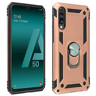 Samsung Galaxy A50 Case Bi Material Rigid Soft Magnetic Ring Stand Rose or