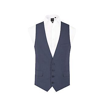 Dobell Mens Mississippi Blue Waistcoat Slim Fit 4 Button
