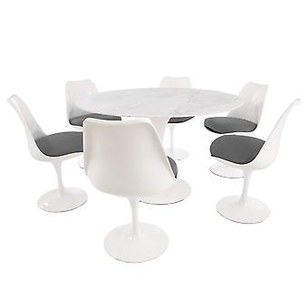 Eero Saarinen Tulip Style Set - Marble Large Circular Table With Six White And Grey Side Chairs