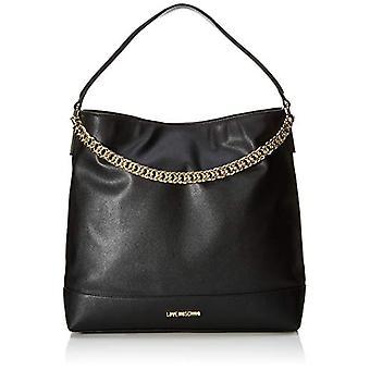 Liefde Moschino tas natuurlijke graan schouder vrouwen (zwart/Galvanic Gold) 32x10x36 cm (b x H x L)