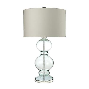 Curvy glass table lamp in light blue with textured linen shade - with philips hue led bulb/dimmer