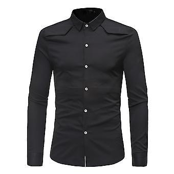 Allthemen Men's Solid Slim Fit Revers Business Causal Long Sleeves Shirt