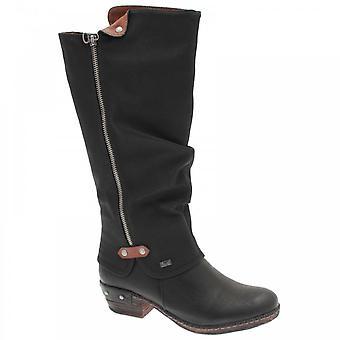 Rieker Black Waterproof Fur Lined Long Boot