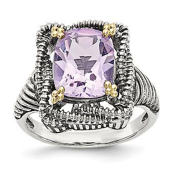 925 sterling silver med 14K rosa ametist Ring-Ring storlek: 6 till 8