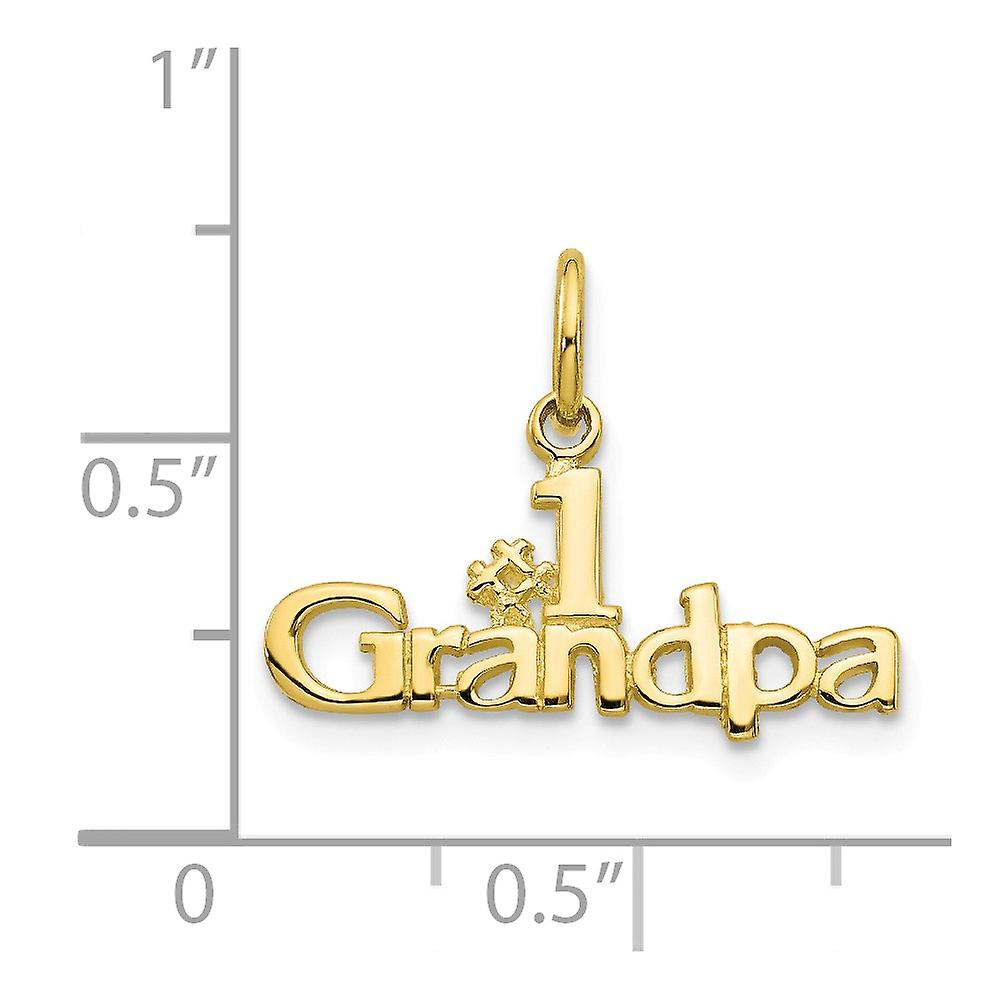 10k Yellow Gold Solid Polished Number 1 Grandpa Charm Pendant Necklace Jewelry Gifts for Women