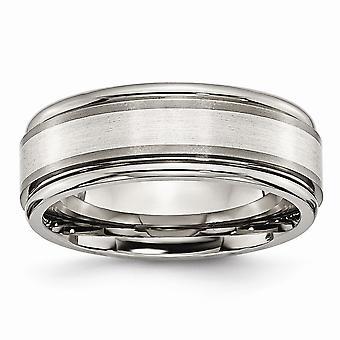 Titan 925 Sterling Silber gerillt gebürstet poliert gravierbare Inlay 8mm Pinsel/polnische Band Schmuck Geschenke für Frauen