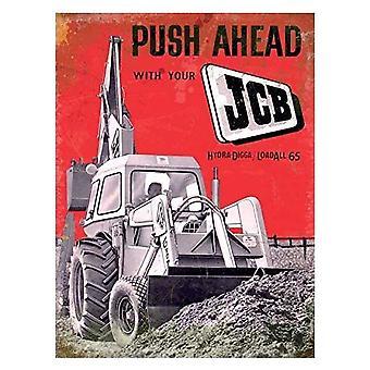 JCB Push Ahead Large Flat Metal Sign (og 4030)