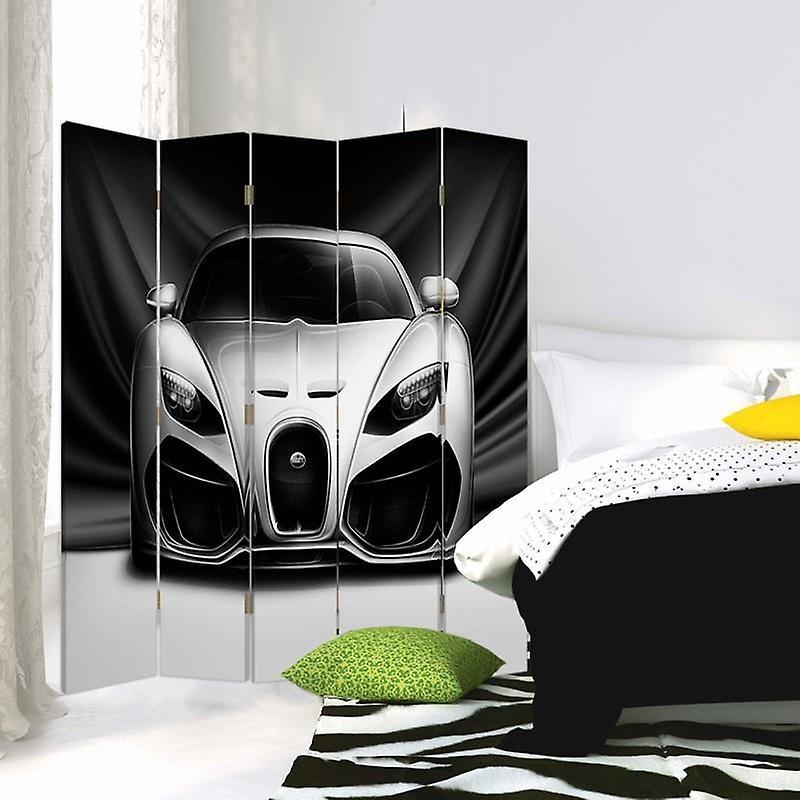 Diviseur de chambre, 5 panneaux, double-sided, 360 rotatable, toile, voiture sportive