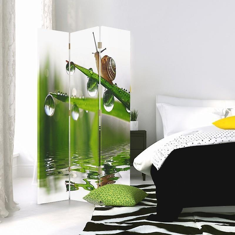 Diviseur de chambre, 3 panneaux, double-sided, toile, escargot sur l'herbe