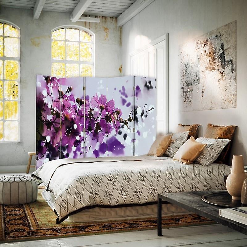 Diviseur de chambre, 5 panneaux, double-sided, toile, fleurs