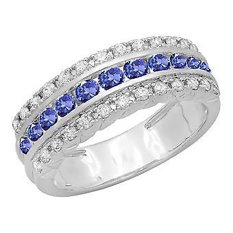 Dazzlingrock Collection 10K Round Tanzanite & Diamond Ladies Engagement Wedding Anniversary Ring, White Gold