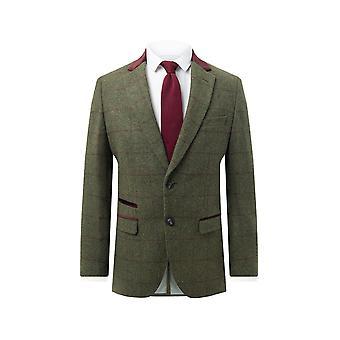 Dobell Mens Green Tweed Jacket Regular Fit Windowpane Check Velvet Trims