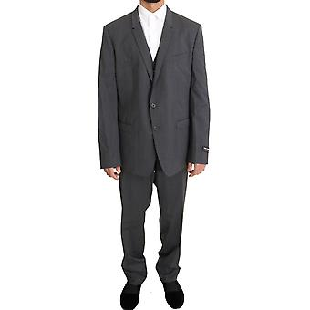 Gray Wool Stretch Slim Fit Gold Suit