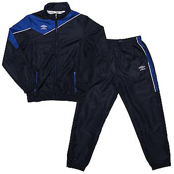 Junior Boys Umbro Division Lined Tracksuit In Navy- Jacket:- Zip Fastening-