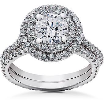 2 ct Round Halo Lab Grown Diamond Engagement Ring Setting & Eternity Band 14k