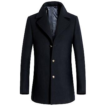 Allthemen Men's Single-Breasted Slim Lapel Business Casual Overcoat