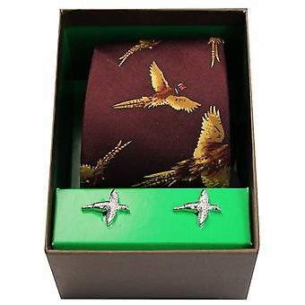 David Van Hagen Flying Pheasants Silk Tie and Cufflink Set - Wine Red