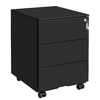 Metallschublade mit abschließbarer Schublade-3 Schubladen-schwarz oder blau/weiß