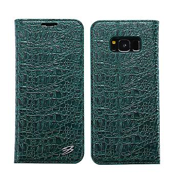 Pour Samsung Galaxy S8 Wallet Case,Fierre Shann Crocodile Leather Cover,Green