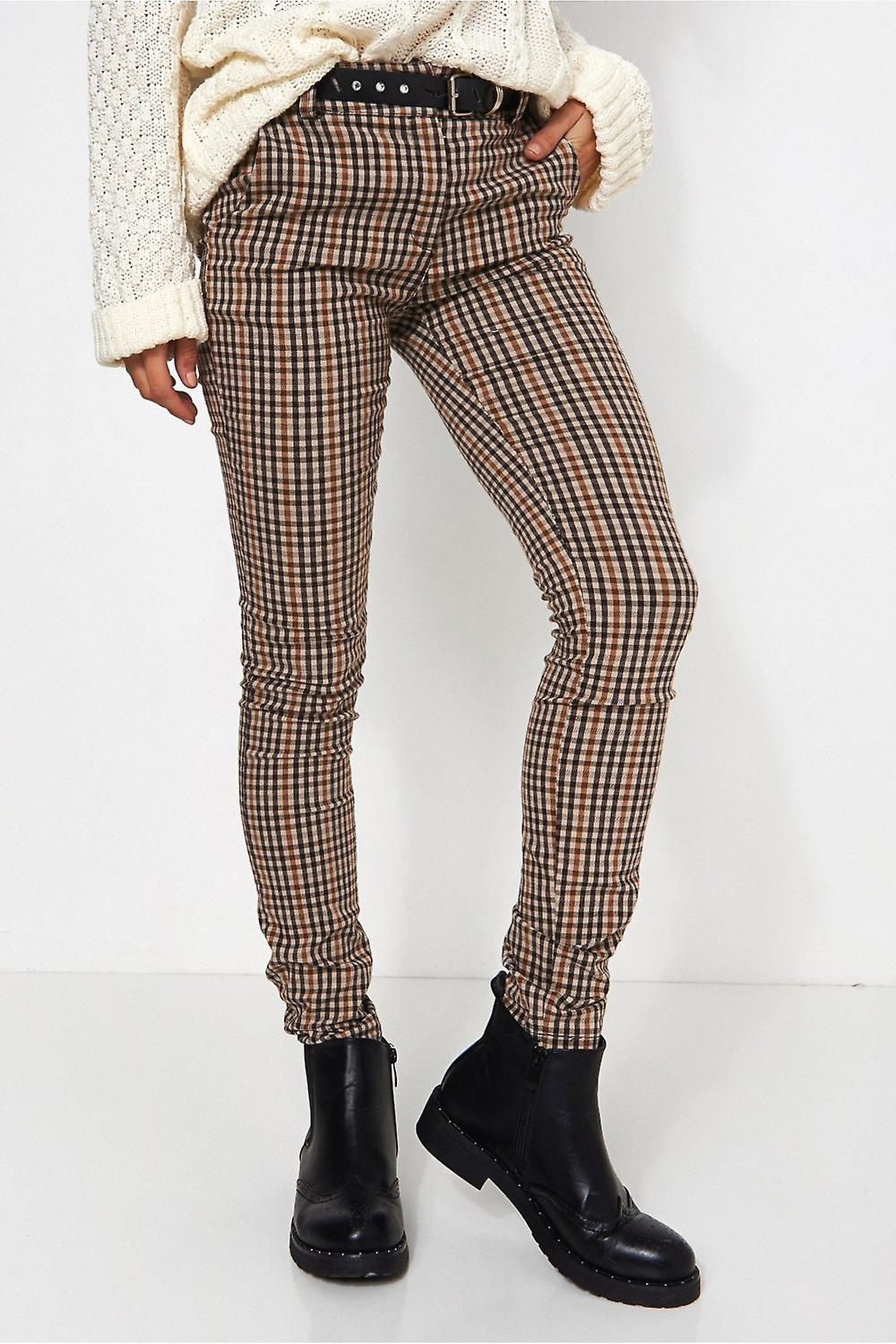 Beige Checked Print Trousers