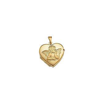 14k keltainen kulta 17.5x18.5mm kiillotettu rakkaus sydämen muotoinen valokuva medaljonki riipus kaulakoru uskonnollinen guardian enkeli jalokivi