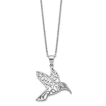 Cheryl M 925 Sterling Silver CZ Cubic Zirconia Simulated Diamond Hummingbird Necklace 18 Inch Jewely Gifts for