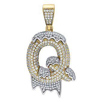 925 Sterling ezüst sárga hang férfi nők CZ csöpögő levél neve személyre szabott monogram kezdeti Q Charm medál Necklac