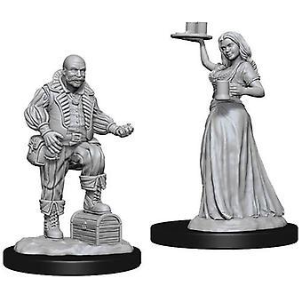 Merchants Serving Girl & Merchant Pathfinder Deep Cuts Unpainted Miniatures 6pks