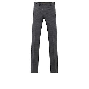 Avail London Mens Grey Suit Trousers Skinny Fit Windowpane Check