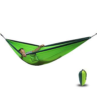 Camping Hammock  270x 140 Cm   Made Of Parachute Nylon Ultralight 180 Kg Load  Ropes Included  Outdoor Trekking & Camping  Green / Khaki