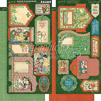 Christmas Magic Cardstock Die - Coupes 6'quot;X12'quot; Sheets 2/Pkg - Tags et Poches