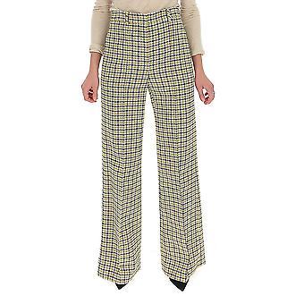 Victoria Beckham 21102bmustardblack Women-apos;s Pantalon en laine blanche/noire