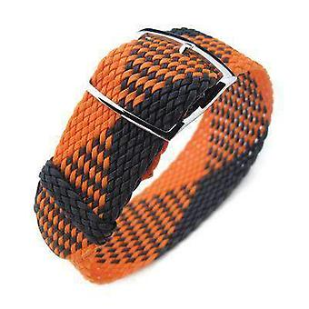 Strapcode fabric watch strap 20, 22mm miltat perlon watch strap, black & orange, polished ladder lock slider buckle