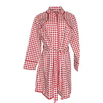 Isaac Mizrahi Live! Women's Gingham Trench Coat w/ Piping Red A351122