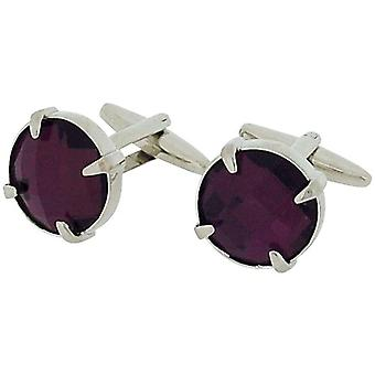 Jakob Strauss Gents Silvertone Round Purple Glass Set Cufflinks