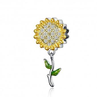 Sterling Silver Charm Gold Color Sunflower - 6221