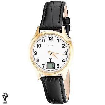 JOBO dámské náramkové hodinky rádio rádio hodinky z nerezové oceli pokovené kožené datum dámské hodinky